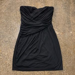 Express Black Strapless Ruched Dress